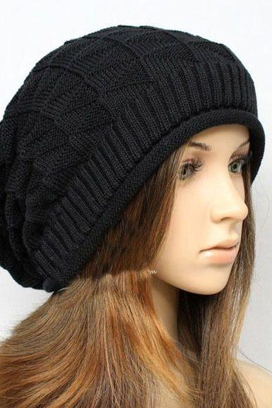 Winter black wool cotton unisex hat