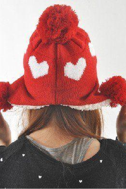 Love heart pompom red girl winter hat