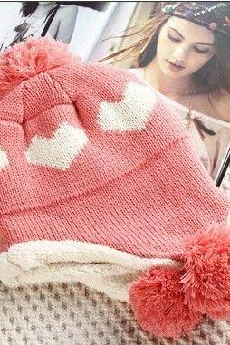 Love heart pompom trendy pink hat