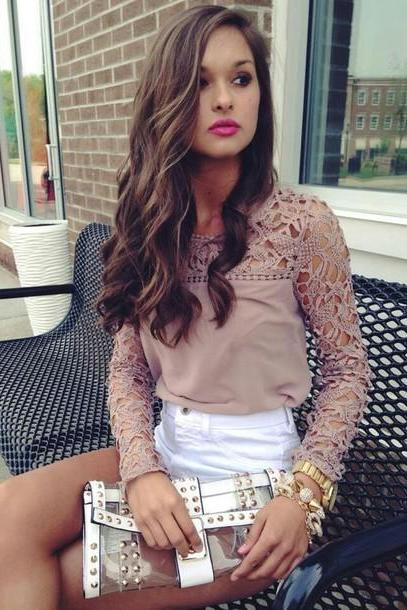 Embroidery Stitching Chiffon Shirt