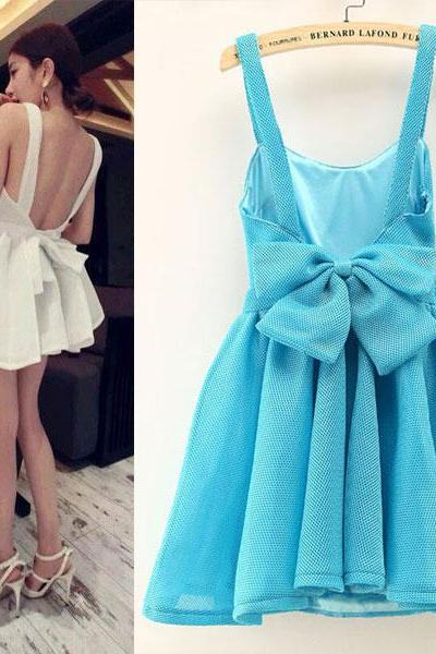 Fashion Halter Big Bow Sleeveless Puff Dress