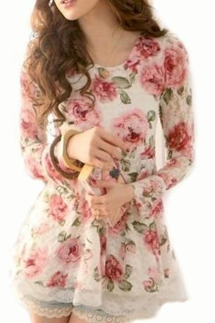 Lace Top Roses Top Chiffon Top Lace Rose Top Roses Print Top Rose Prints Blouse Tunic Lace Rose Pattern Print T-Shirt Lace Floral Tops Long Sleeve Cotton Blouse Girls Top Lace Fabric Top