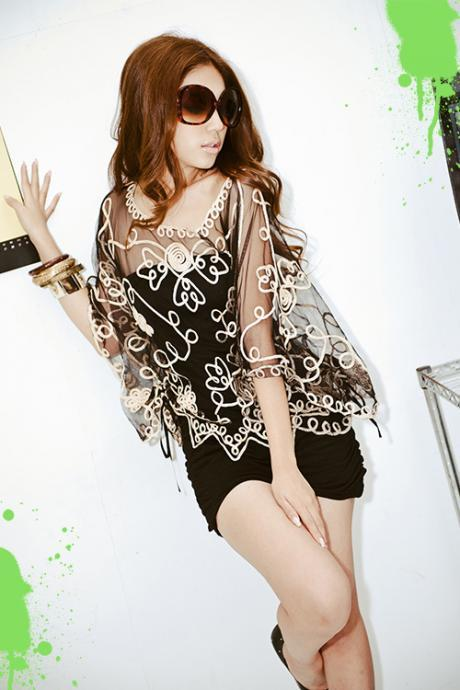 Batwing Crochet Lace Gauze Blouse Tops For Women