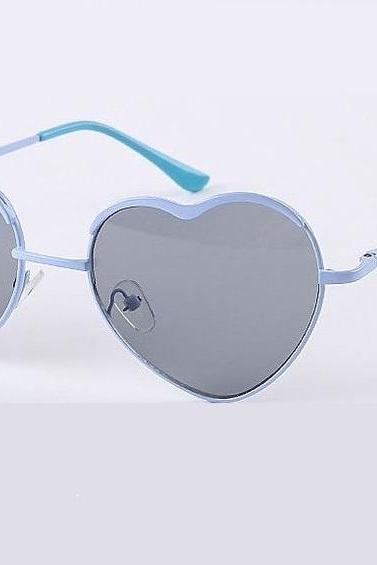 Heart shape blue frame sexy woman sunglasses