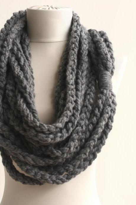 Crochet chain scarf infinity rope scarf in gray