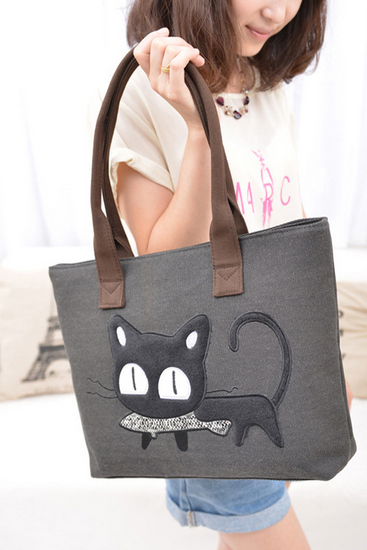 Cute cartoon lady canvas bag