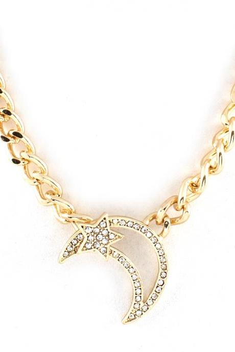 Moon and Star Necklace, Gold Chain with Crystal Moon and Star Front Closure