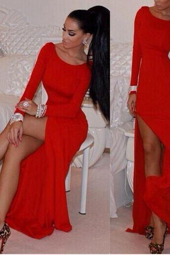 Sleeves Side Split Red Mermaid Ankle Length Bandage Dress