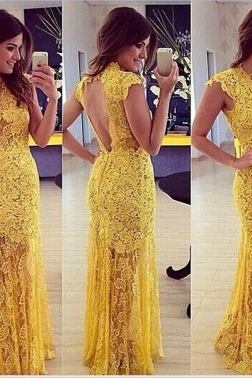 Sexy Sleeveless Yellow Lace Ankle Length Dress