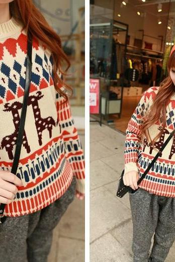 Vintage Preppylook Women's Fashion Round Neck Floral Geometric Cute Animal Deer Knitted Pullover Sweater as Christmas Valentine Gift