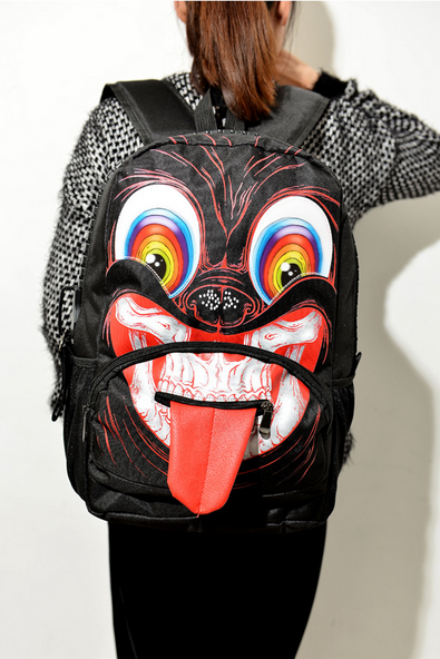 Personality backpack backpack bag face tongue bigeye fashion bags bag