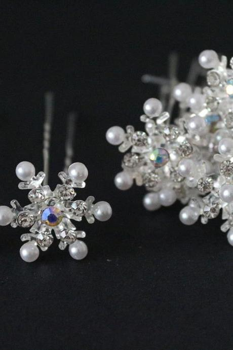 20 pcs Snowflake Crystal Bridal Wedding Prom Hair Pins Hair Accessory