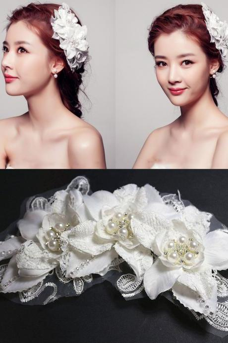 LACE faux pearl bridal Wedding RHINESTONE flower wire Hair Tiara White headpiece
