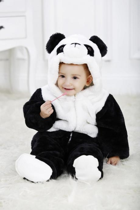 Winter type panda Unisex Playsuits Romper Toddlers jumpsuit onesie animal for baby