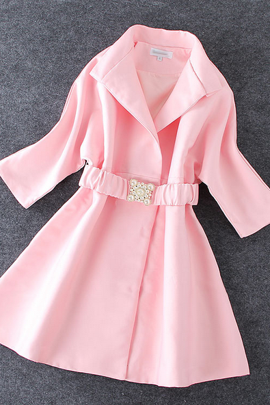 Women's new solid Lapel coat pearl belt tightness
