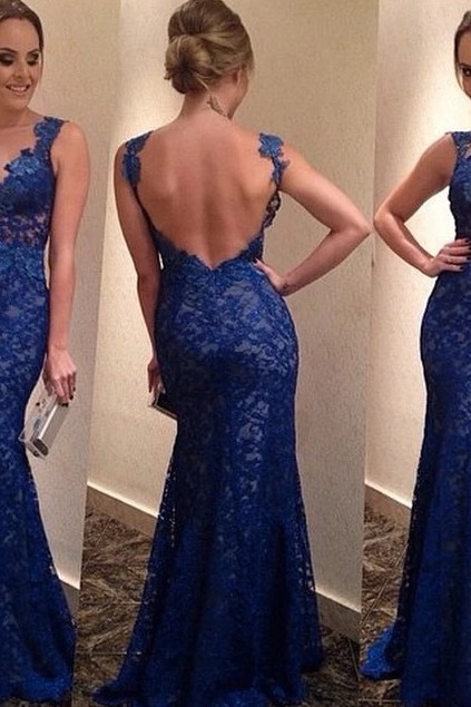 2014 New women blue long lace dress backless party dresses