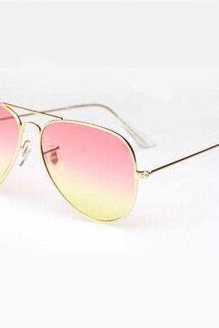 Pink-yellow lenses aviator girl fashion sunglasses