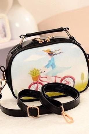 Girl on bicycle casual handbag