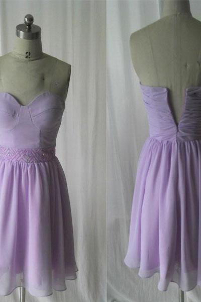 Lavender prom dress,short prom dress,chiffon prom dress,cheap prom dress,simple prom dress,cocktail party dress,short bridesmaid dress,Lavender bridesmaid dress,formal bridesmaid dress ,PQ5802