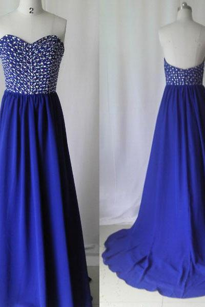 Royal Blue prom dress,Long prom dress,chiffon prom dress,Crystal Beaded prom dress, Royal blue Evening dress,fashion elegant prom dress ,long party dress,shining party dress ,PQ5572