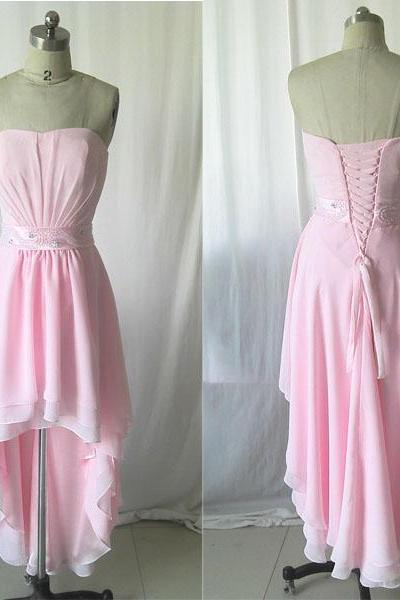 Pink prom dress,Long prom dress,chiffon prom dress,Front Short Back Long Dress, Pink Evening dress,fashion elegant prom dress ,long party dress,Asymmetric party dress ,PQ5572