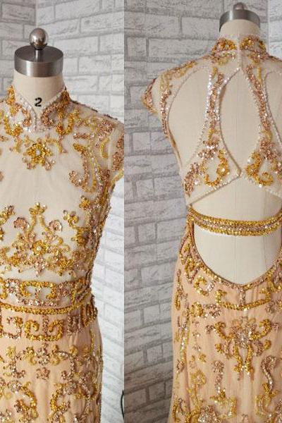 Short Sleeves Luxurious Gold Mermaid prom dress,Long prom dress,chiffon prom dress,Crystal Beaded prom dress, fashion prom dress,elegant prom dress ,long party dress,shining party dress ,PQ5571