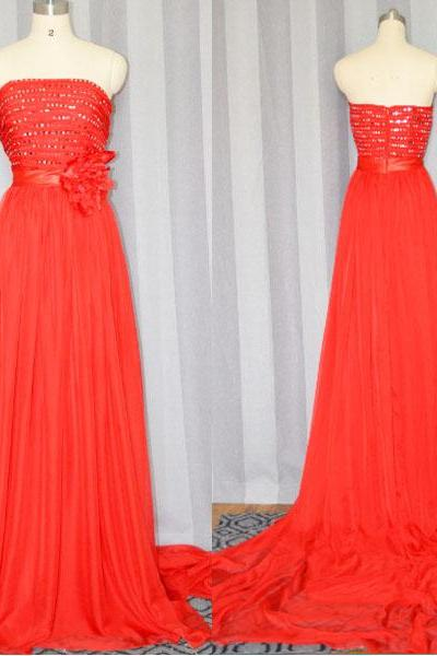Red prom dress,Fashion sleeveless Long Formal Chiffon Prom Dress 2015 ,Long party Dress,Red evening dress