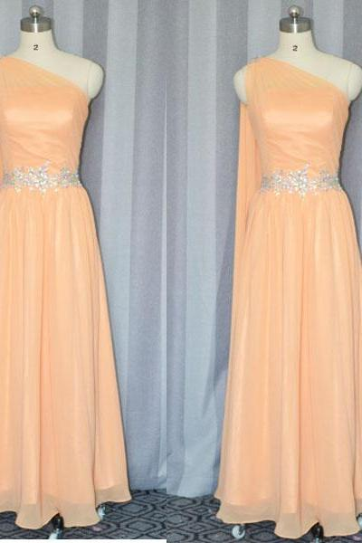 Coral Bridesmaid dress,One Shoulder Sash beaded Long Chiffon Cheap bridesmaid dress 2015,long party dress ,formal prom dress