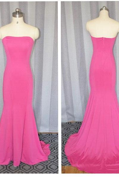 Hot Pink prom dress,Fashion Elegant sleeveless Long Formal Mermaid Jersey Prom Dress 2015 ,Long party Dress,Hot Pink evening dress