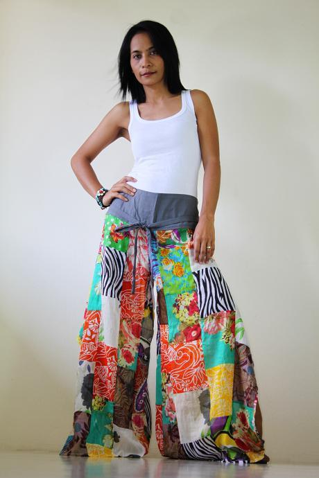 High waisted pants Wide Leg Boho Patchwork pants