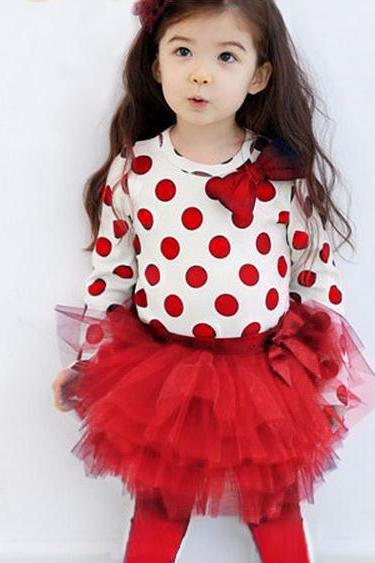 Red Polka Dots Clothing Set for Girls Red Polka Dots Tierred Tutu Dress Girls Toddler Girls
