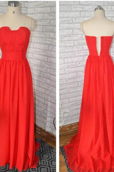Red Bridesmaid dress, Formal Long Chiffon Lace Cheap bridesmaid dress 2015,long party dress ,red prom dress