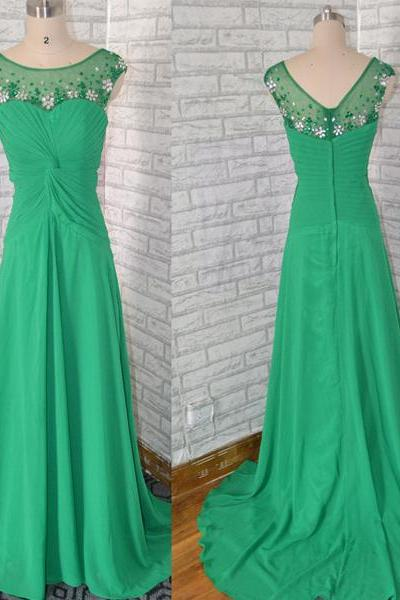 Boat Neck Cap Sleeves Chiffon beaded long Green Prom Dress,Chiffon long Green evening dress