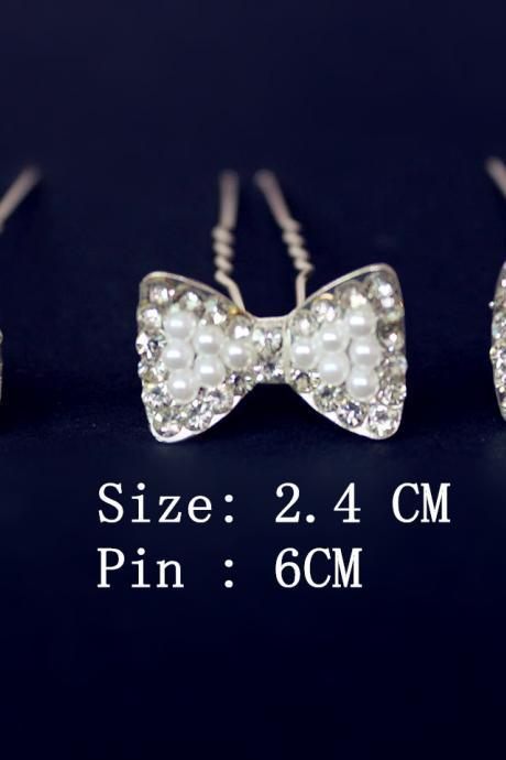 Wedding Jewelry 6 Pcs Silver Bowknot Crystal Wedding Bridal Bride Prom Hair Bobby Pin