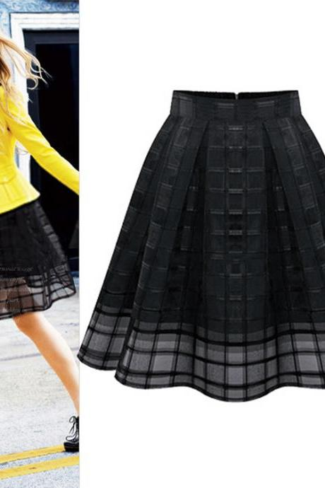 High Waist Zipper Organze Plus Size Skirt