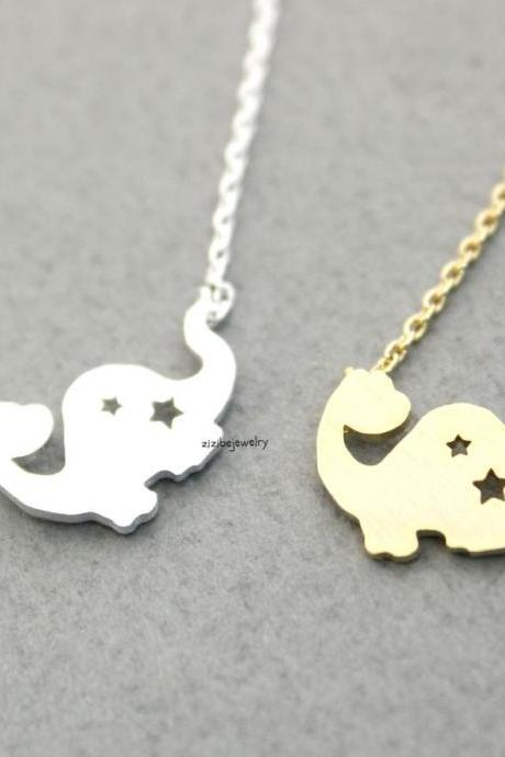 Dino ,Dinosaur,Dragond pendant necklace in Gold / Silver, N0313G