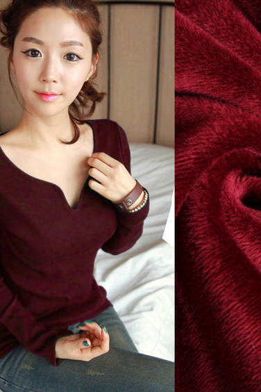 Women's petal collar long sleeved thickened cotton T-shirt bottoming shirt