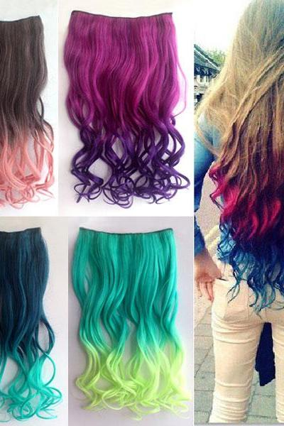 Long Wavy Colorful Clip Hair Weft
