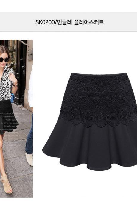 Ruffle Chiffon High Waist OL Style Solid Lace Pencil Plus Size Skirt