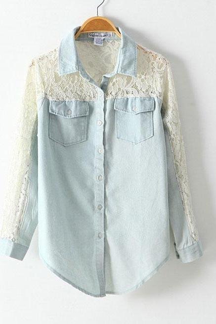 Sexy Hollow Lace Denim Shirt