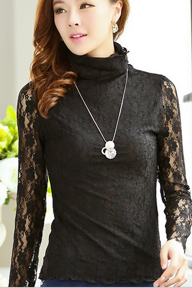 Dress lace blouse T-shirt double lace collars bottoming shirt