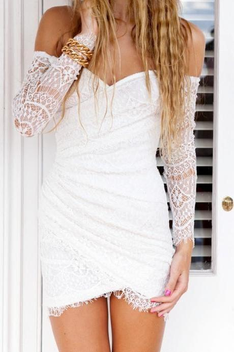 Long Leakage Shoulder Dress Cute Party Dress White