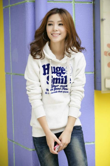 New 2014 HOT Selling Women Letter Printed Hoodies Leasure Sport Coat Sweatshirt Tracksuit Tops Outerwear With Hat