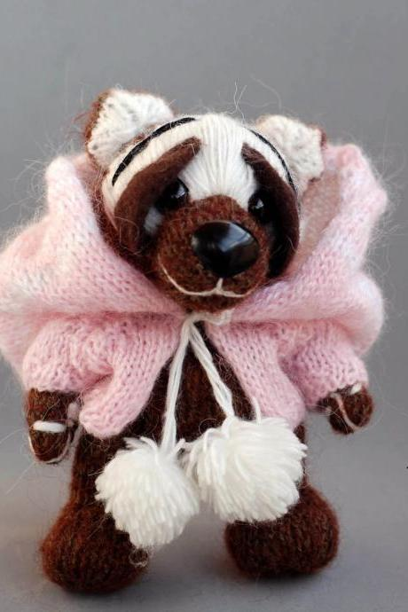 Teddy Bear in a jacket with a huge hood. Knitted mohair bear. Artist Bear