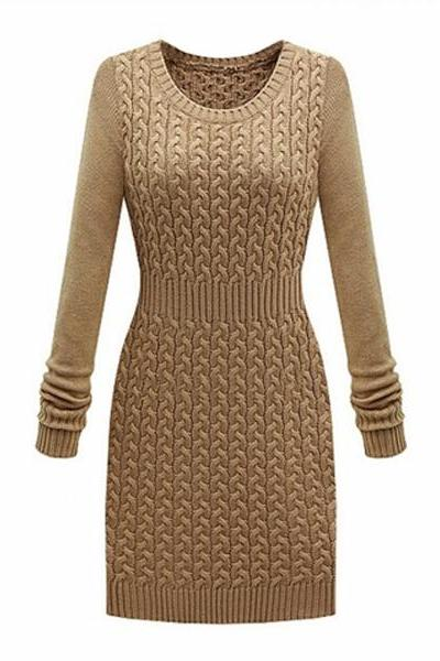 Elegant O-Neck Tight Waist Knit Long Sleeve Sweater Dress