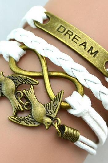 Dream Infinity charm bracelet Dove white braided leather bracelet