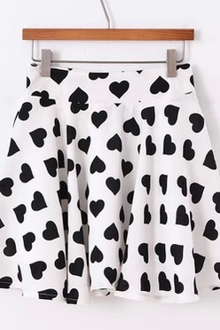 Heart Print Mini Skater Chiffon Skirt