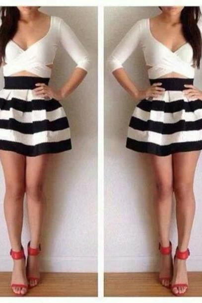 Fashion Striped Mini Skirt Dress