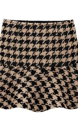 Houndstooth Skirt Pleated Skirt