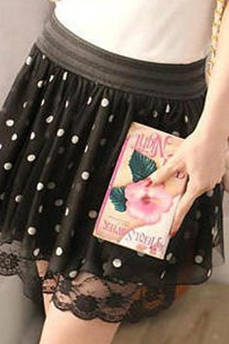 Polk Dots Print Skirt With Lace Detail 050853